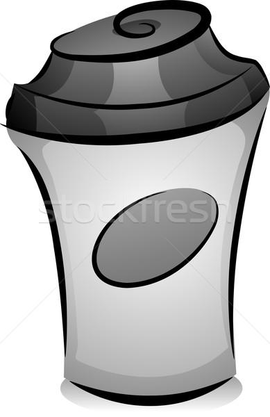 Forró kávé zsonglőr illusztráció feketefehér terv Stock fotó © lenm