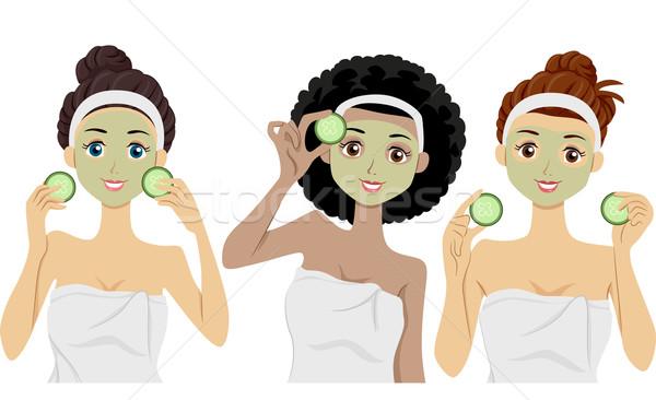 Maskers illustratie vrouwen klei gezichten Stockfoto © lenm