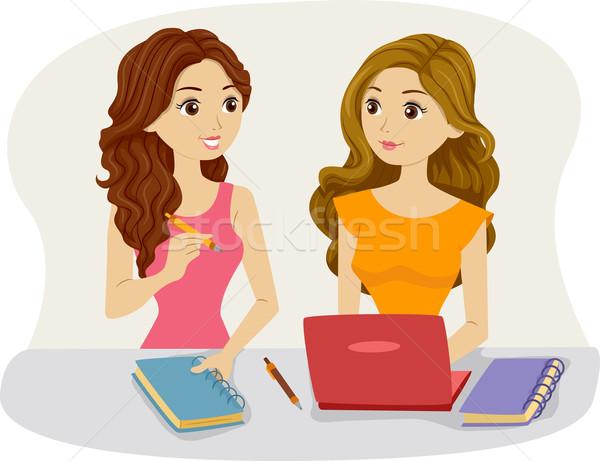 Tanulás haverok illusztráció női szobatársak tanul Stock fotó © lenm
