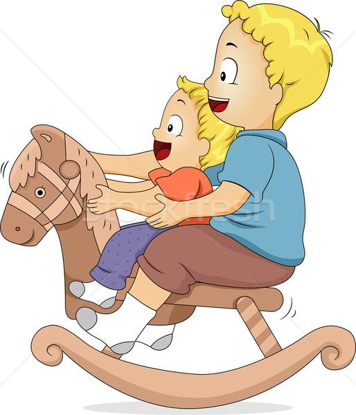 Rocking Horse Siblings Stock photo © lenm