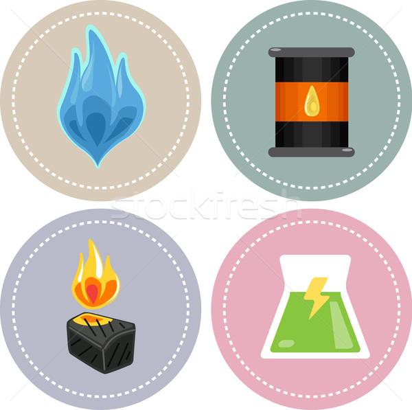 Energia ikonok ikon illusztráció földgáz olaj Stock fotó © lenm