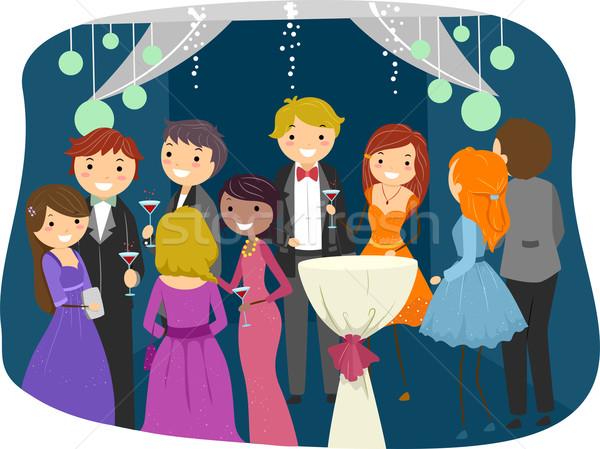 Prom noite ilustração adolescentes dançar adolescente Foto stock © lenm