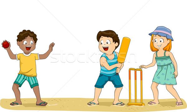 クリケット 子供 実例 グループ 子供演奏 ビーチ ストックフォト © lenm