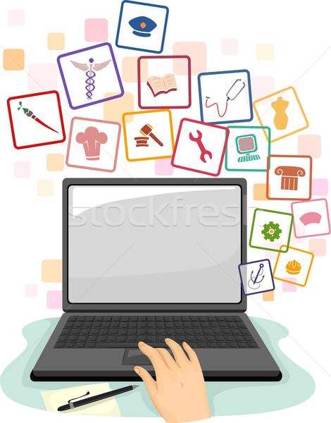 Iş arama dizüstü bilgisayar örnek kişi dizüstü bilgisayar kullanıyorsanız arama Stok fotoğraf © lenm