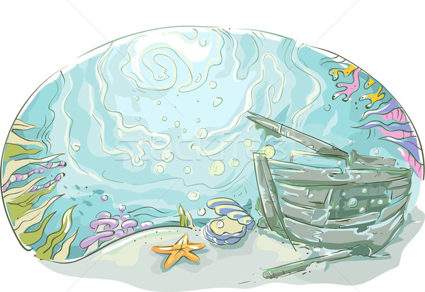 Subaquático naufrágio projeto ilustração veículo fundo Foto stock © lenm