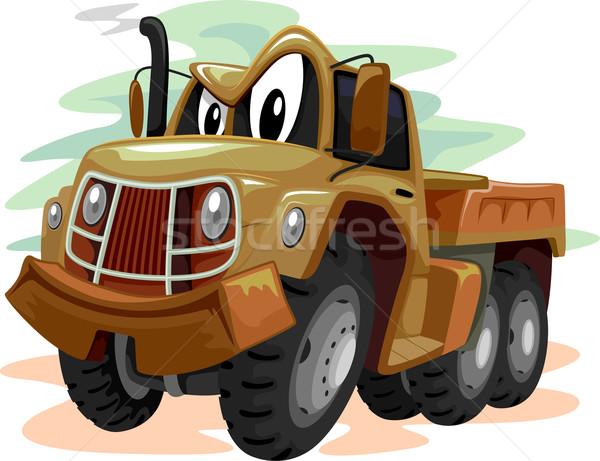 Mascote militar caminhão ilustração marrom arte Foto stock © lenm
