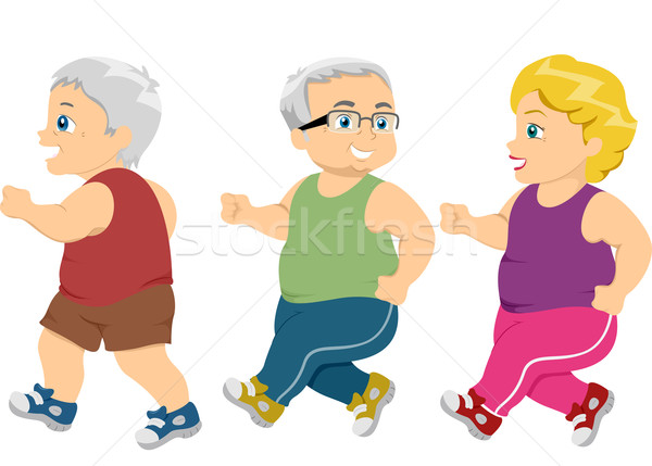 Jogging marche illustration Homme seniors Photo stock © lenm