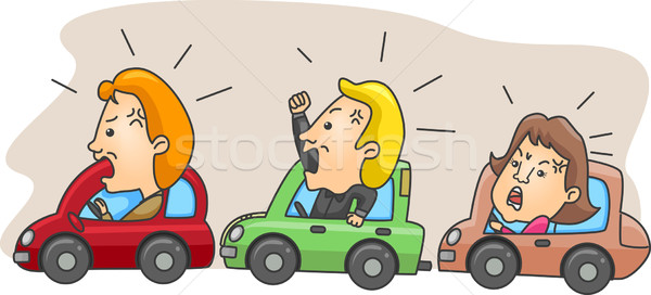 Colère illustration embouteillage homme trafic Homme Photo stock © lenm