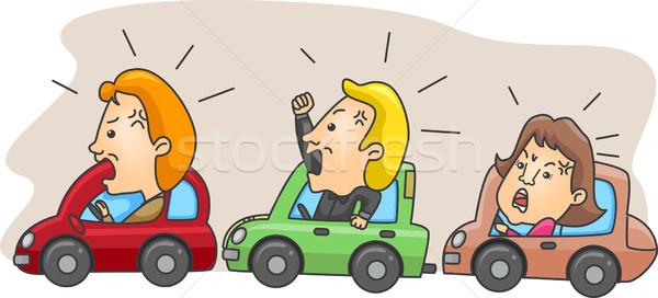 Zangado ilustração engarrafamento homem tráfego feminino Foto stock © lenm