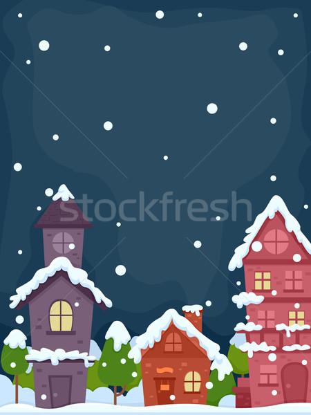 Hó falu éjszaka illusztráció békés háttér Stock fotó © lenm