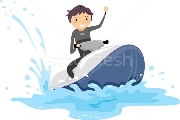 Jet ski fickó illusztráció vezetés tenger tini Stock fotó © lenm