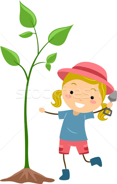Kid Cultivating Plant Stock photo © lenm