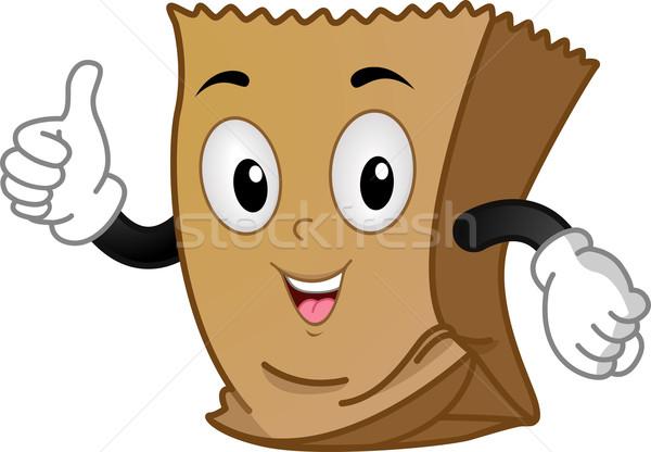 Carta marrone mascotte illustrazione vettore isolato clipart Foto d'archivio © lenm
