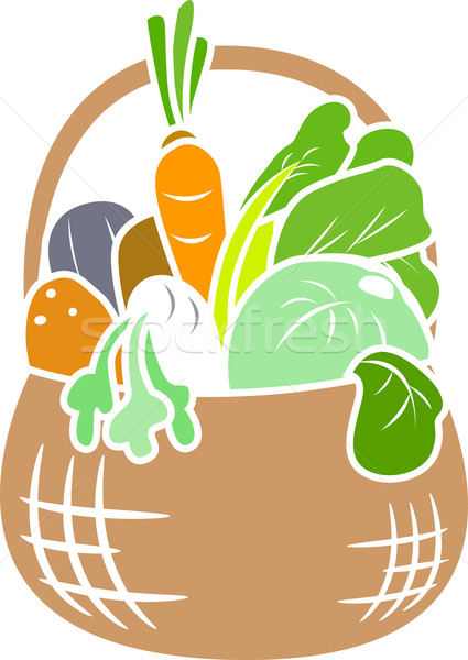 Vegetable Basket Stencil Stock photo © lenm