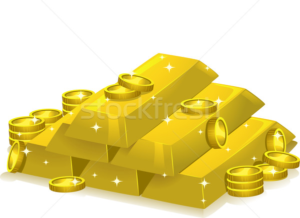 Gold Bar and Coins Stock photo © lenm