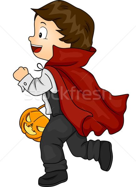 Halloween traje vampiro menino ilustração pequeno Foto stock © lenm