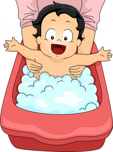 赤ちゃん 少年 泡風呂 実例 幸せ ストックフォト © lenm