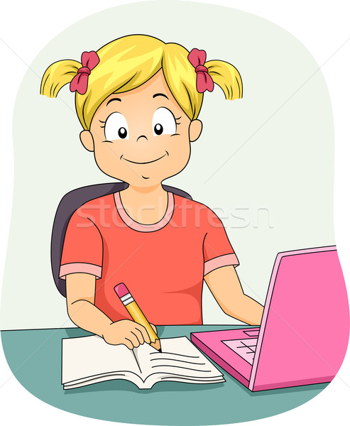 Lány házi feladat illusztráció kislány laptopot használ dolgozik Stock fotó © lenm