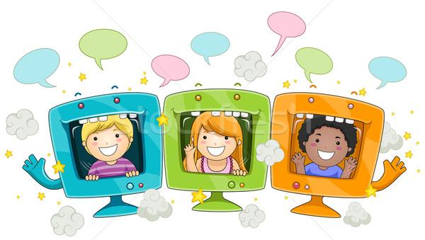 Gyerekek számítógépek arcok aranyos kicsi bent Stock fotó © lenm