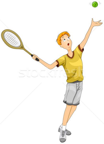 Teenager Playing Tennis Stock photo © lenm