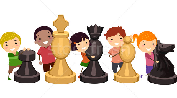 Stickman Kids Chess Game Stock photo © lenm