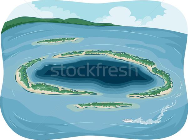 атолл иллюстрация небольшой океана природы синий Сток-фото © lenm