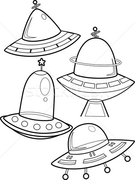 Statek kosmiczny strona line sztuki ilustracja pływające Zdjęcia stock © lenm
