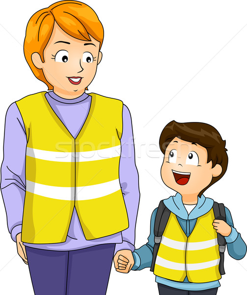 Mom Kid Boy School Walking Bus Stock photo © lenm