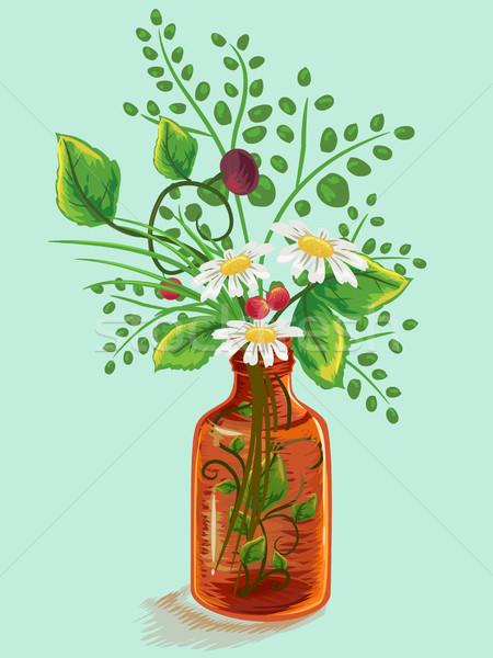 Herbal Flowers Medicine Bottle Stock photo © lenm