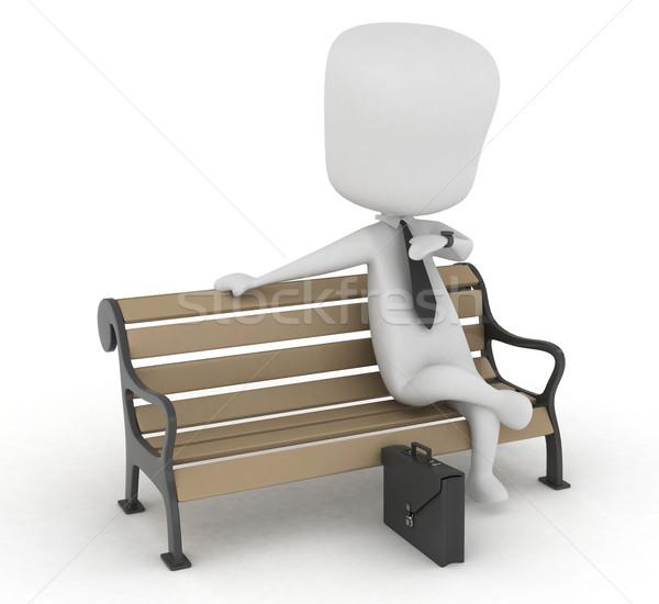 ストックフォト: 待って · 男 · 3次元の図 · 座って · ベンチ
