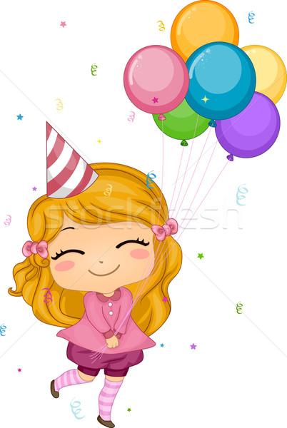 рождения шаров иллюстрация девушки счастливым Сток-фото © lenm