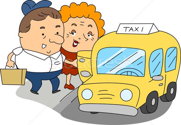 Taxi conductor ilustración trabajo mujer hombre Foto stock © lenm