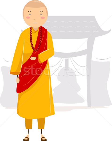 монах иллюстрация монастырь человека мужчины веры Сток-фото © lenm