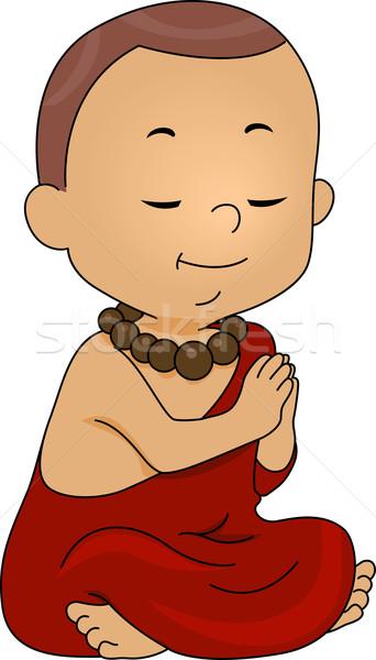 Monnik bidden illustratie weinig jongen kid Stockfoto © lenm