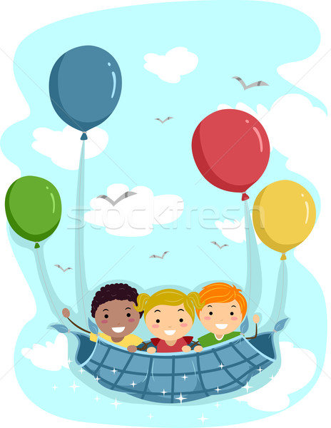Ballon illustration enfants réalisée loin enfant Photo stock © lenm