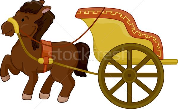 Biga ilustração antigo cavalo projeto guerra Foto stock © lenm
