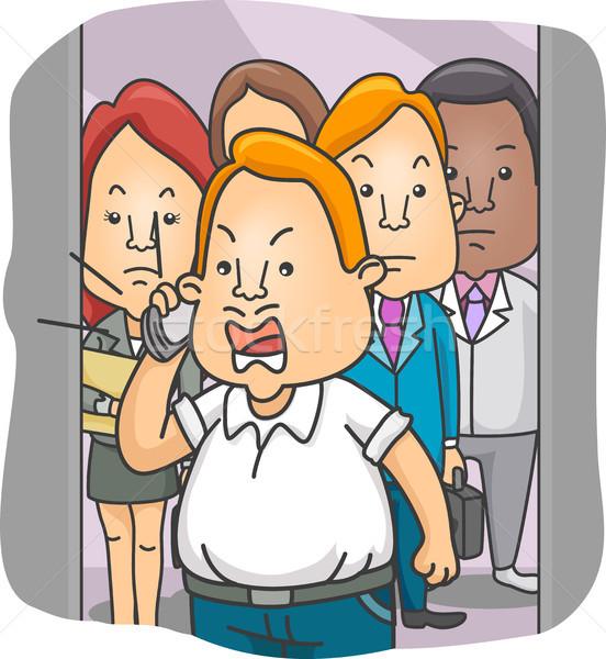 Człowiek windy mówić telefonu ilustracja głośno Zdjęcia stock © lenm