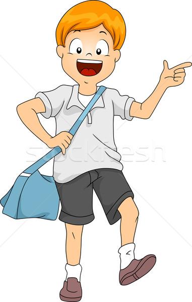 Gyerek fiú diák csúzli táska illusztráció Stock fotó © lenm