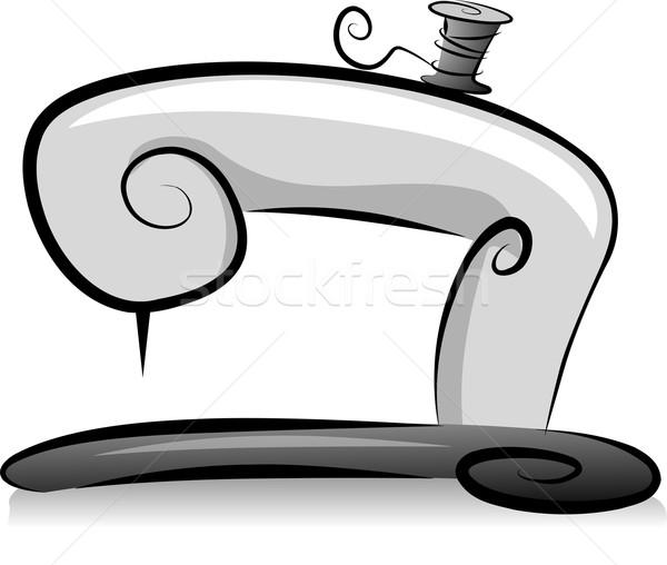Máquina de costura carretel fio ilustração preto e branco projeto Foto stock © lenm