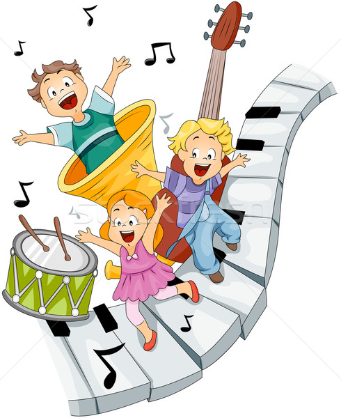 Photo stock: Musical · instruments · de · musique · fille · enfants · clavier