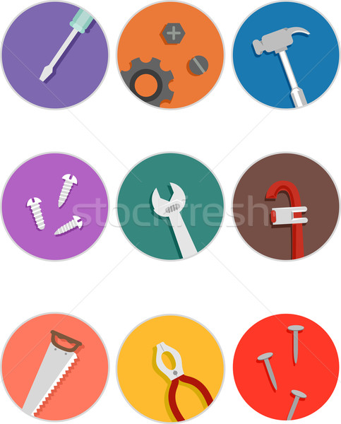 Mechanical Tools Icons Stock photo © lenm