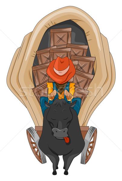 西 ワゴン 旅人 牛 ストックフォト © lenm