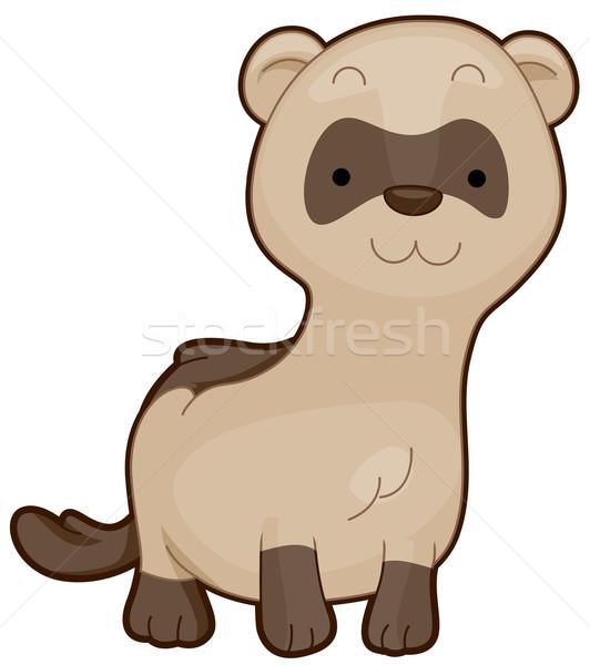 Stockfoto: Cute · fret · glimlachend · zwarte · witte · dier