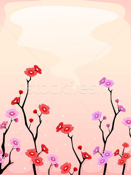 Cseresznyevirágzás illusztráció tele virágzik terv háttér Stock fotó © lenm