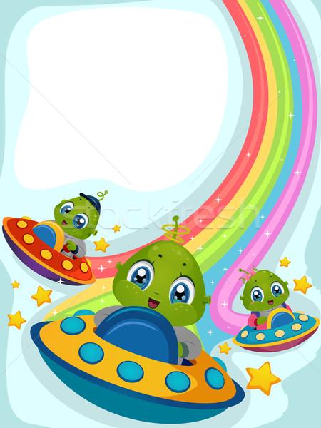 Arco-íris ilustração condução crianças criança projeto Foto stock © lenm