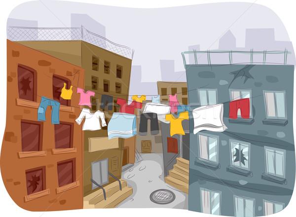 Gettó illusztráció ruházat akasztás ruhaszárító város Stock fotó © lenm