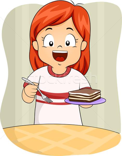 девушки Тирамису иллюстрация девочку блюдце Сток-фото © lenm