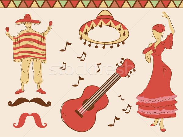 Mexicano diseno elementos ilustración danza bordo Foto stock © lenm