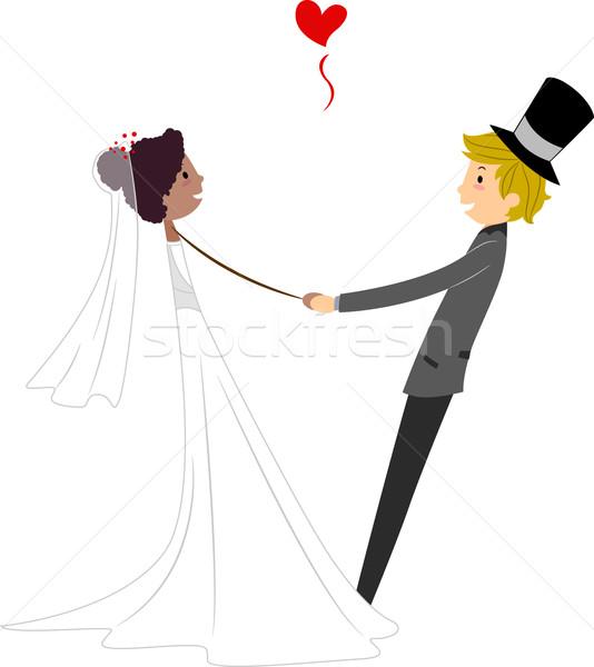 Interracial Wedding Dance Stock photo © lenm
