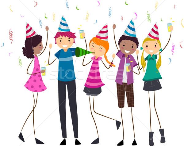 Születésnapi buli tinédzserek illusztráció buli nők születésnap Stock fotó © lenm